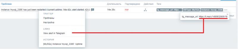 Пример маркировки тегами и меню перехода к сообщению в Телеграм
